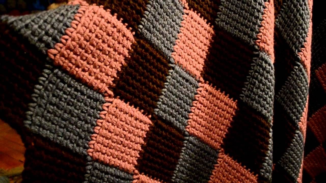 Crochet Afghan Patterns Youtube : Entrelac / Afghan stitch crocheted blanket - YouTube