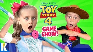 Team BO PEEP vs Team WOODY! Toy Story 4 Movie Trivia Game & Toys Unboxing! KIDCITY