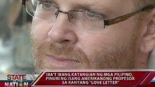 """Iba't ibang katangian ng mga Pilipino, pinuri ng isang Amerikanong propesor sa kanyang """"love letter"""""""