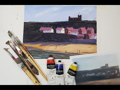 """Learn To Paint TV E33 """"The Abbey At Whitby"""" Acrylic Painting For Beginners"""