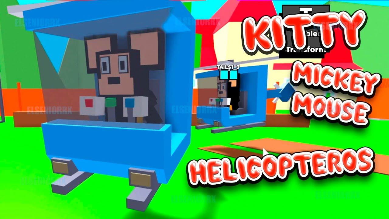 KITTY VUELO EN HELICOPTERO CON MICKEY MOUSE ~ Kitty Roblox ~ ELSENIORRX ROBLOX