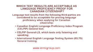 Which test results are acceptable as language proficiency proof for Canadian citizenship?