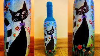 GLASS BOTTLE PAINTING | GLASS BOTTLE CRAFT