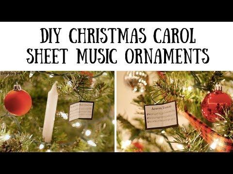 DIY Christmas Carol Sheet Music Book Ornaments