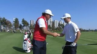 Zach Johnson almost holes his terrific approach at The Presidents Cup