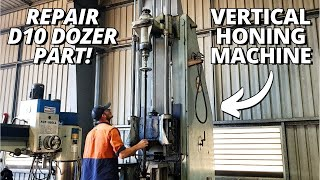 Machining and Vertical Honing a Caterpillar Dozer track adjuster cylinder | Part 1