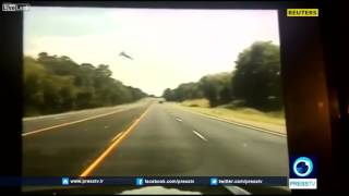 DASHCAM VIDEO CAPTURES SMALL PLANE CRASHING INTO HIGHWAY  8/1/2017