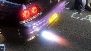 INSANE Nissan Skyline GTR Throwing Flames!