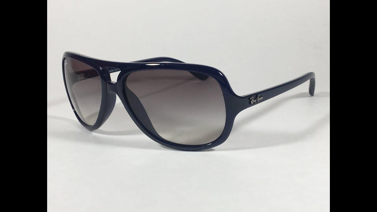 defa0e40c5 Ray-Ban Turbo Aviator Sunglasses Navy Blue Nylon Frame Gray Gradient Lens  RB4162 629 32