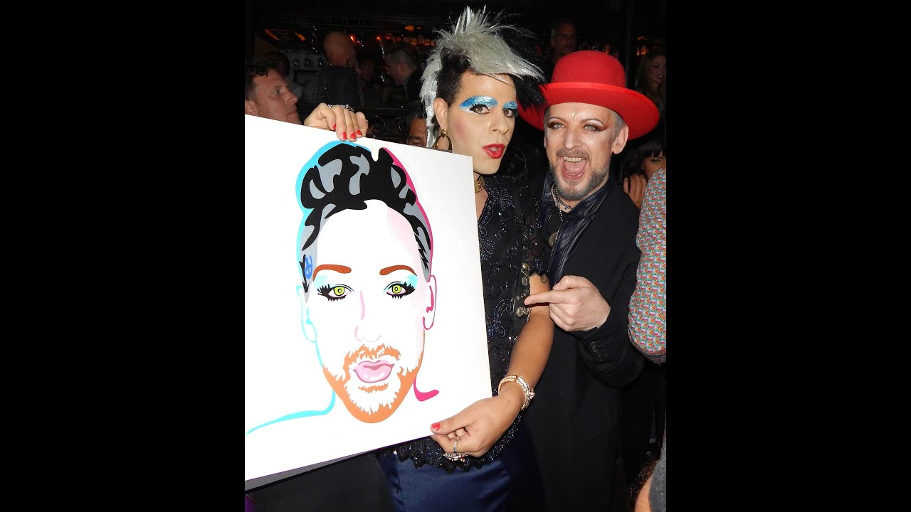 boy george get a pop art portait from sham ibrahim - youtube