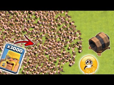 Max lvl giant cannon vs 3000 max lvl barbarian 😱cannon vs barbarian 😎xtreme battle🔥unity clash😘
