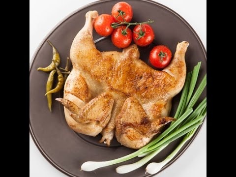 Цыпленок табака. Рецепт на сковороде. Курица на сковороде под прессом.