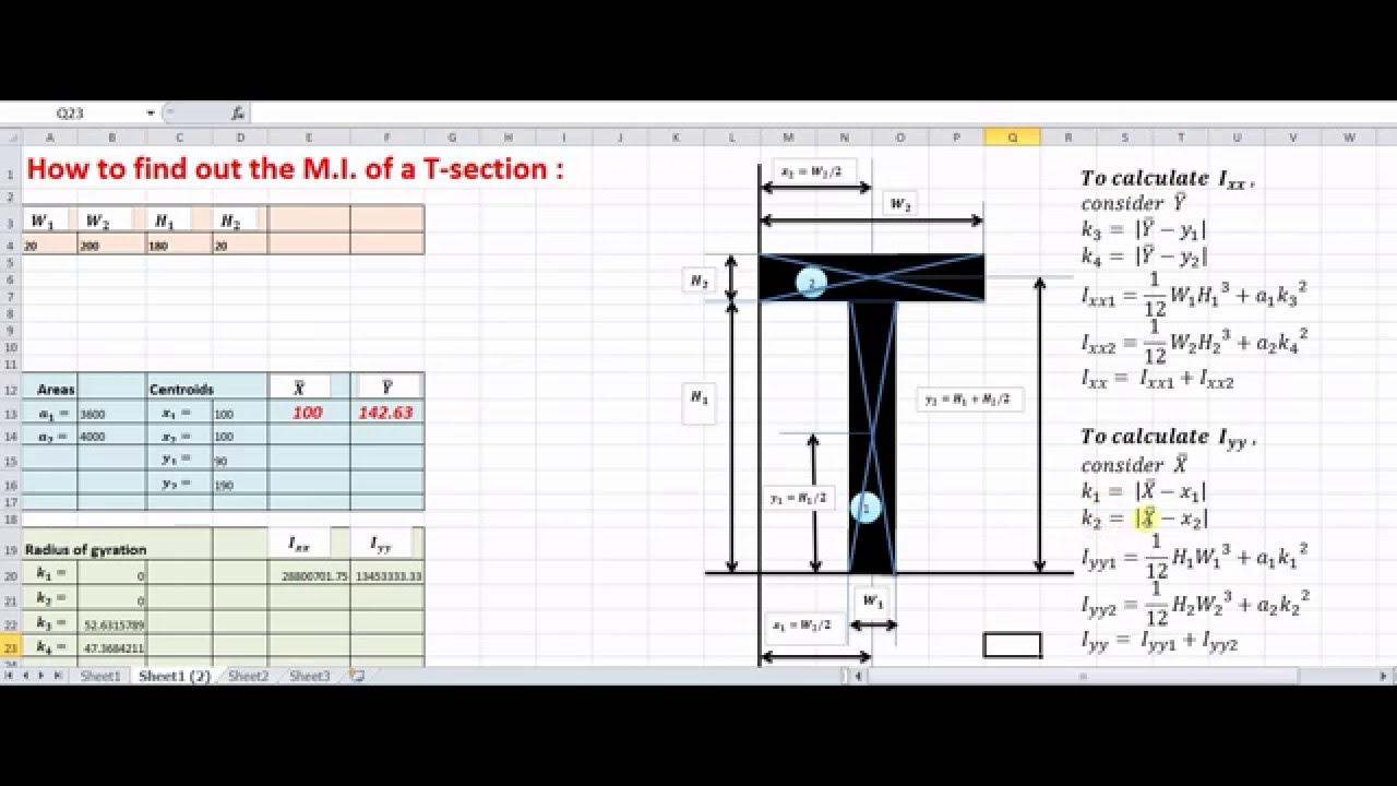 Moment of inertia of composite shapes - Engineering Mechanics an EXCEL  calculator