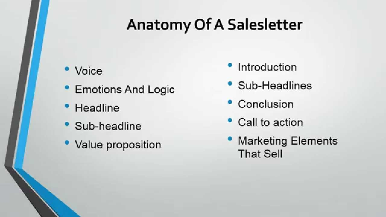 Copywriting 3 Anatomy Of A Salesletter Understanding The Ten Key Elements Of Sales Copy
