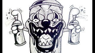 How to draw - spray can clown -  cool drawing for Halloween