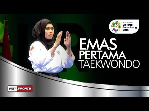 DEFIA ROSMANIAR SABET EMAS PERTAMA POOMSAE TAEKWONDO PUTRI TEST EVENT ASIAN GAMES 2018