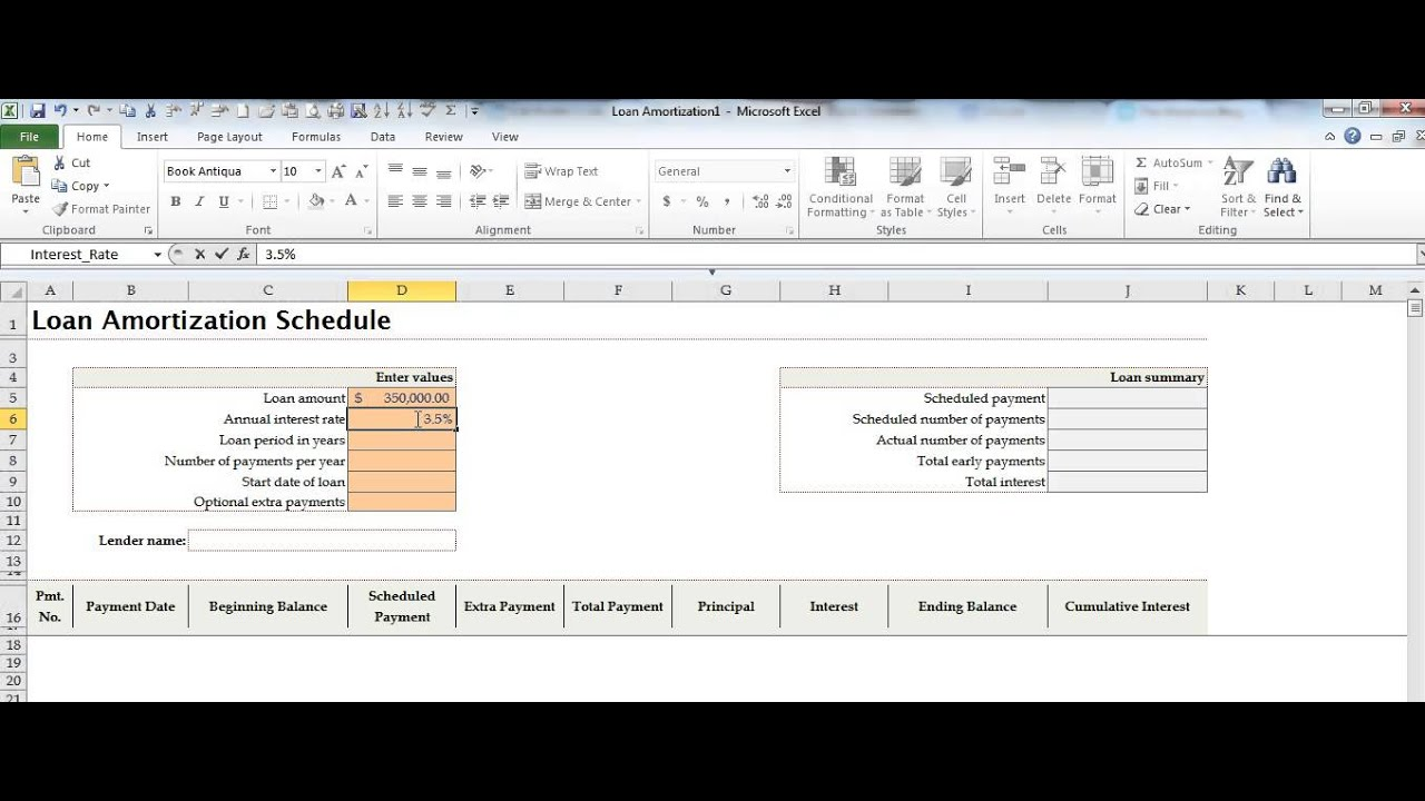 Create a Loan Amortization Schedule in Microsoft Excel by MOSTraining - YouTube