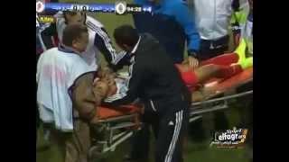 إصابة قوية لطارق أبو المعاطي لاعب بتروجيت و الإسعاف تنقل اللاعب !