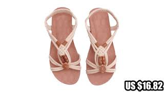 32813583165 Peep-toe flat Shoes Roman sandals Women shoes sandalias mujer sandalias.mp4