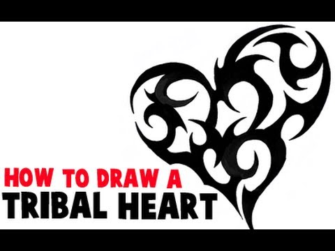 08a8864ef How to Draw a Tribal Heart Tattoo Design in Easy Steps Tutorial - How to  Draw Step by Step Drawing Tutorials