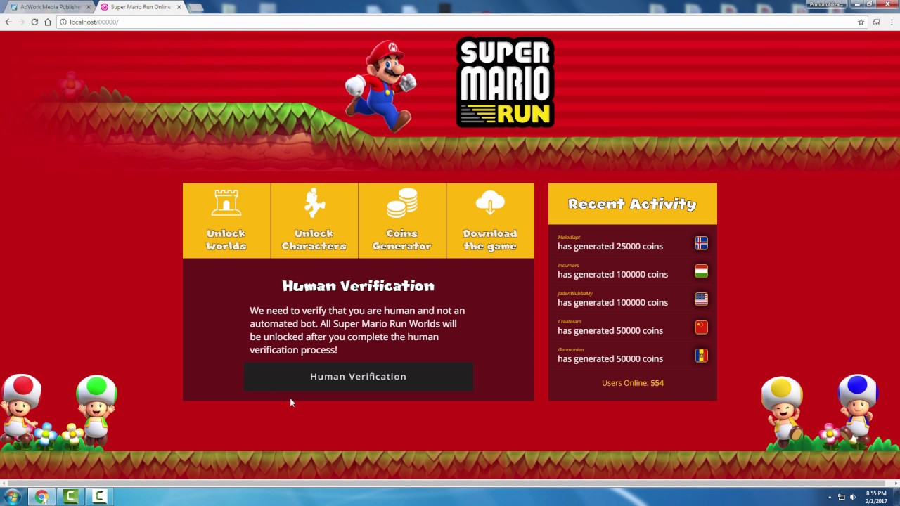 Super Mario Run Generator Landing Page Template - YouTube