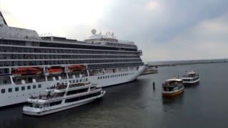 Cruise ship horn battle with the port tower and spezial action with a crewmember