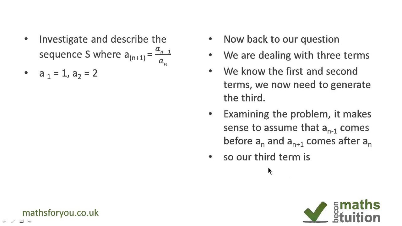 recursive sequence maths revision questions igcse as level 11th