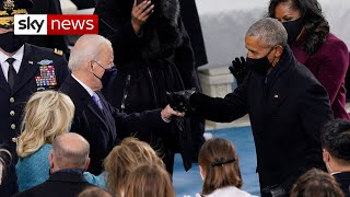 US inauguration: Joe Biden walks out with his wife and fist bumps Obama