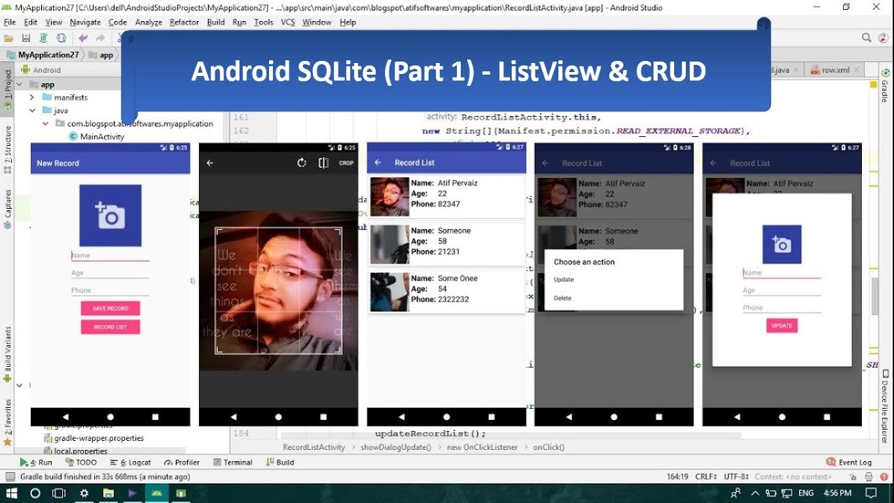 Android SQLite CRUD and ListView - Android Studio Tutorial