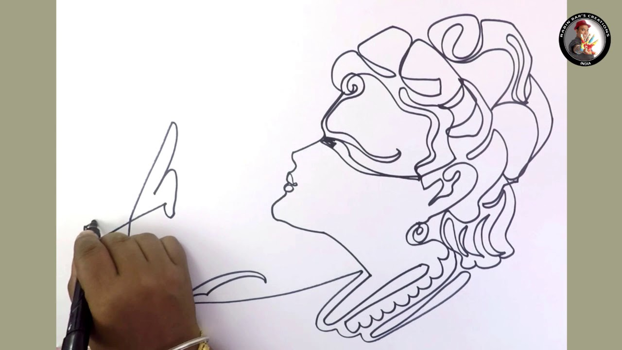 Krishna i in one line drawing i amazing sketch