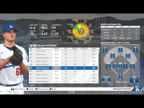 Mlb The Show 20 Los Angeles Dodgers Manage Roster Overview Mlb Levels Aaa Aa A Youtube