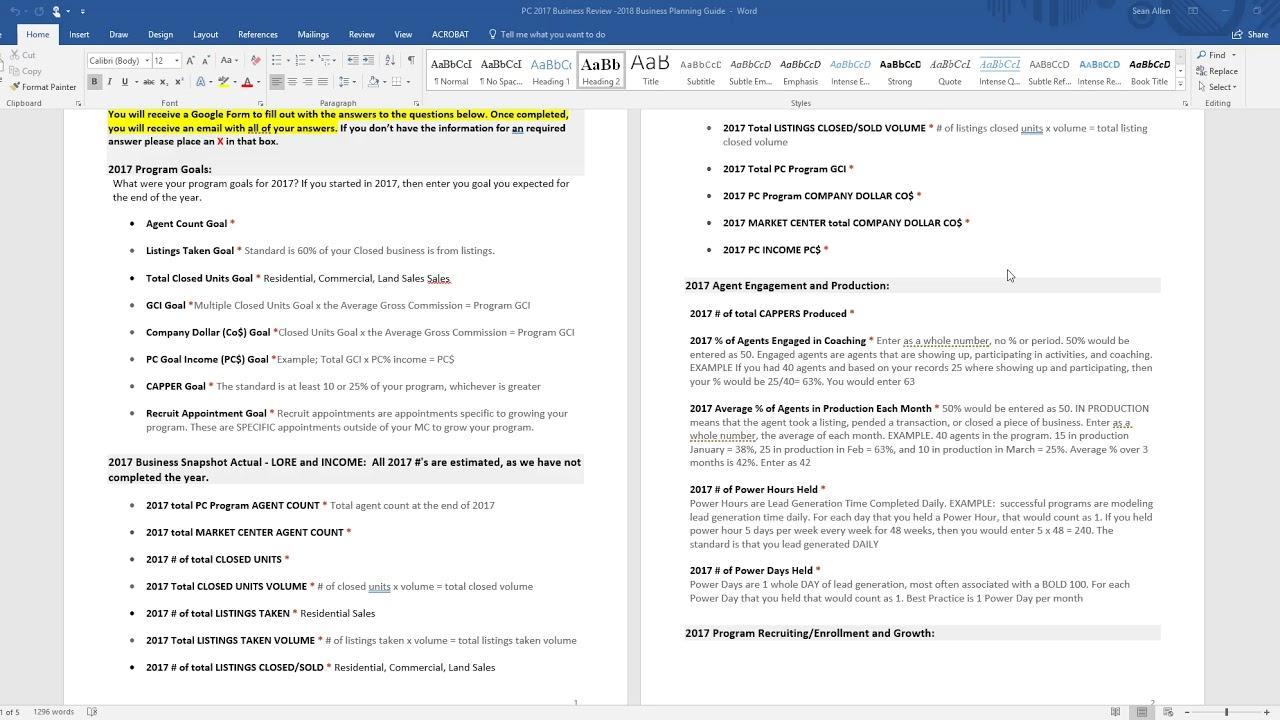 2018 PC Business Plan Worksheet YouTube – Business Plan Worksheet