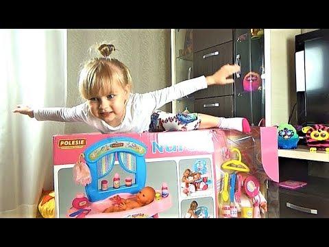 Огромный набор  с пупсиком в коробке!!! Алиса веселится и открывает сюрприз