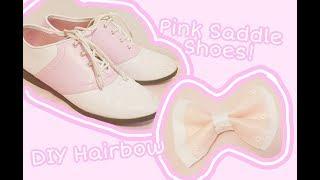 👞💕 Pink Saddle Shoe Bow SPEEDCRAFT 💕👞 50s Inspried Retro Style Hairbow DIY 💕