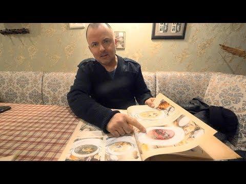 "An American in Soviet Cafe ""Kvartirka"". St. Petersburg, Russia. Russian Cuisine."