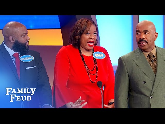 Quinae's pool guy does what to her bottom?! | Family Feud