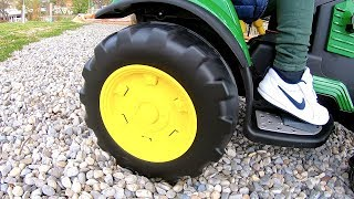 Ride on Tractor | John Deere Power Wheels Test Drive in Elevator | Tim Drives to the Playground