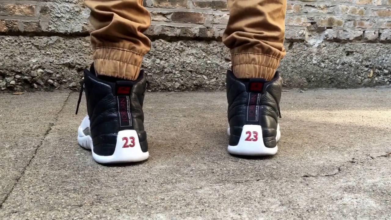 new arrival 3c394 2c787 Jordan 12 Playoffs On Feet