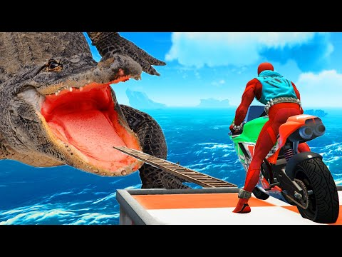 ROAD TO CROCODILE MOUTH CHALLENGE - Spider Man Motorcycle Race Competition Obstacle Running |