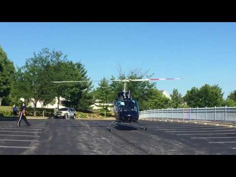 Air Evac helicopter lands at Air Evac Lifeteam HQ