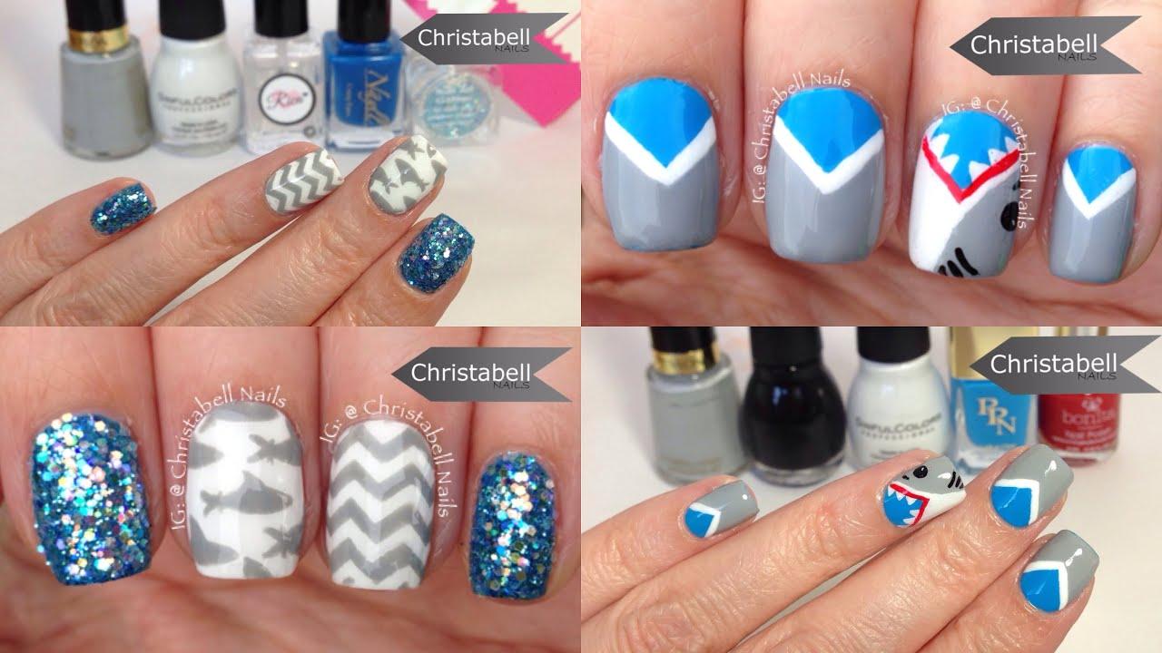shark week nail art tutorial with chevrons - youtube