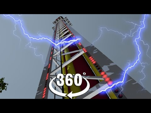 VR 360 Extreme Storm Freefall Catapult Roller Coaster video for virtual reality