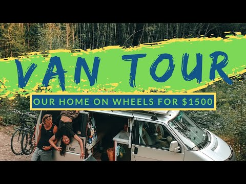 VAN TOUR | UNDER $1500 | We've lived in our TINY HOUSE on wheels WITH OUR PUP for all of 2019!