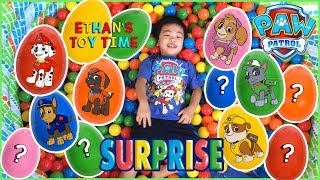 SURPRISE EGGS Paw Patrol Egg Hunt Ball Pit Game! Candy and Toys! Number Counting Learning Colors!