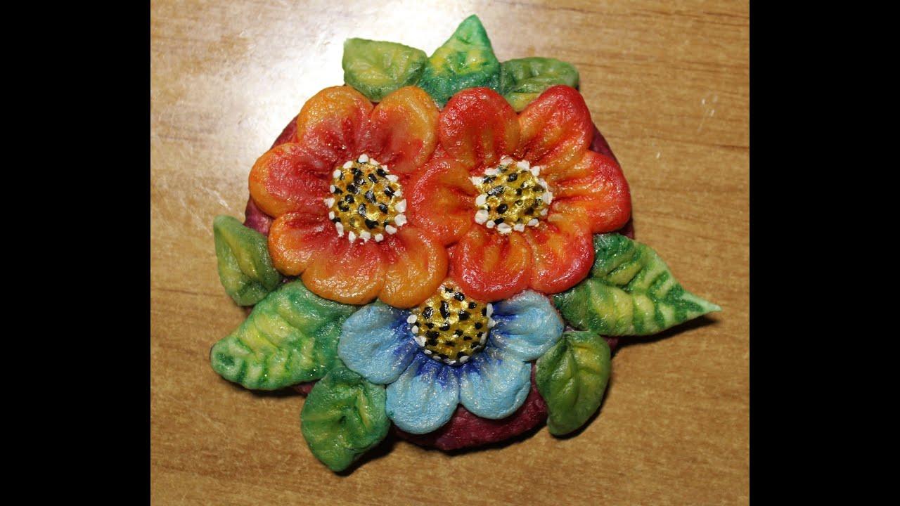 Цветы из теста соленого