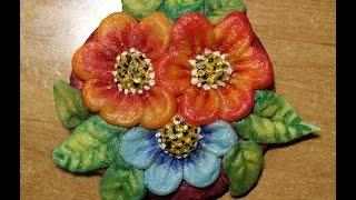 Цветы из соленого теста своими руками. Видео урок для детей 4-8 лет.