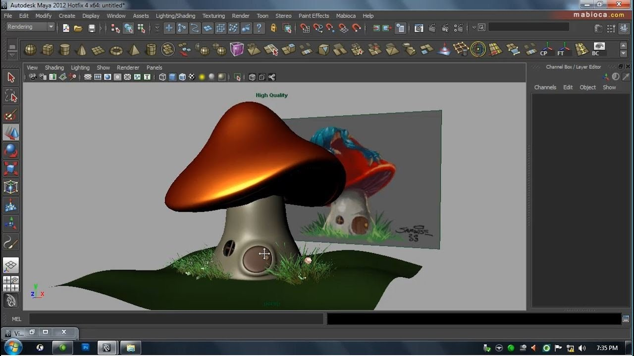 Basic Modeling 7 Cartoon Mushroom House Youtube