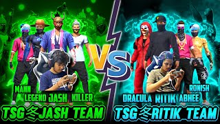FREEFIRE || TWO SIDE GAMERS OFFICIAL TEAM RITIK VS TSG JASH || TSG ARMY GUILD VERSUS LIVE REACTION