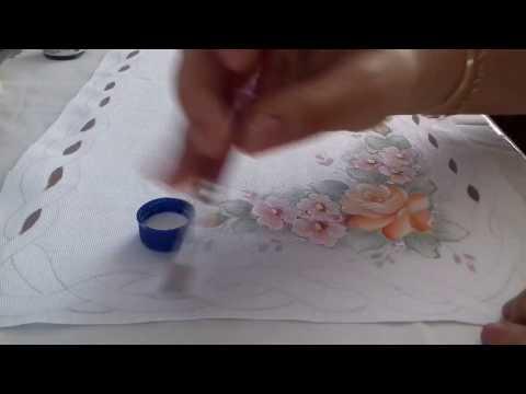 Pintura em Tecido. Caminho de Mesa com Falso Rechilieu.