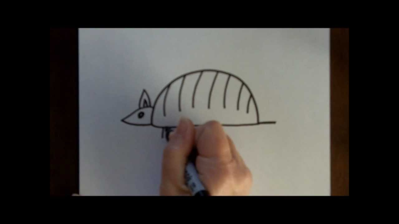 How to Draw an Armadillo Cartoon Simple Drawing Tutorial ...